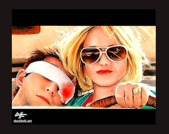 "Print 8x10"" - Clarence and Alabama - True Romance Christian Slater Patricia Arquette Gary Oldman Dennis Hopper Pop Art Lowbrow 90s"