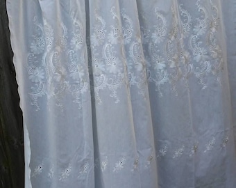 Vintage Curtain Panels White Curtains Home Decor Cottage Chic Embroidered curtains Shabby Chic