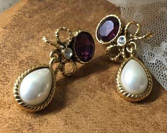 Refined Elegant Amethyst Glass Faux Pearl Teardrop Cabochon Dangling Earrings Unsigned Pierced Gold Tone Bow Design Feminine Evening Wear
