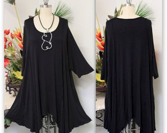 ComfyPlus Lagenlook Plus size Long Tunic  in Black color.  Stylish, Versatile,Soft and Comfortable up to 7XL