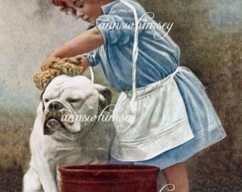 """Girl's Room Art """"Bath Time"""" Dog Art, Little Girl Bathes Bull Dog,  Restored Vintage Art #179"""