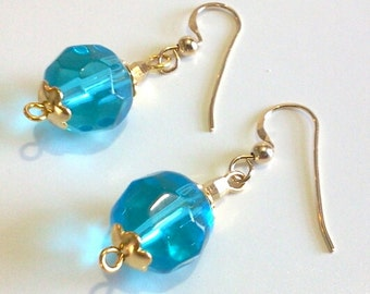 Aqua Blue Faceted Glass Bead Earrings, Simple Blue Beaded Jewelry, Gold Dangle Earrings, Ready to Ship
