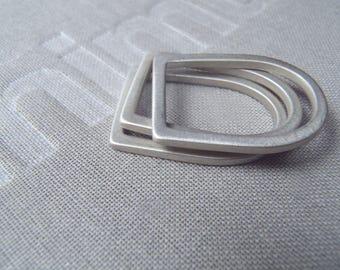 Slim round-square sterling stacking rings set