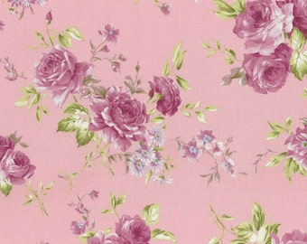 Rococo Sweet 2015 Roses on Pink Cotton Fabric Lecien 31137-20