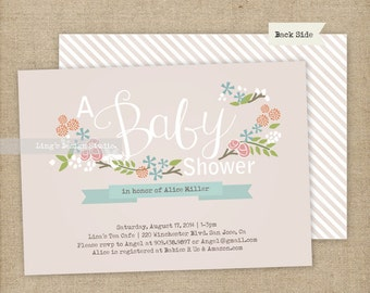 Floral baby shower invitation | Printable or Printed