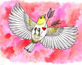 """Original artwork """"Lovebird"""" A4 watercolours"""
