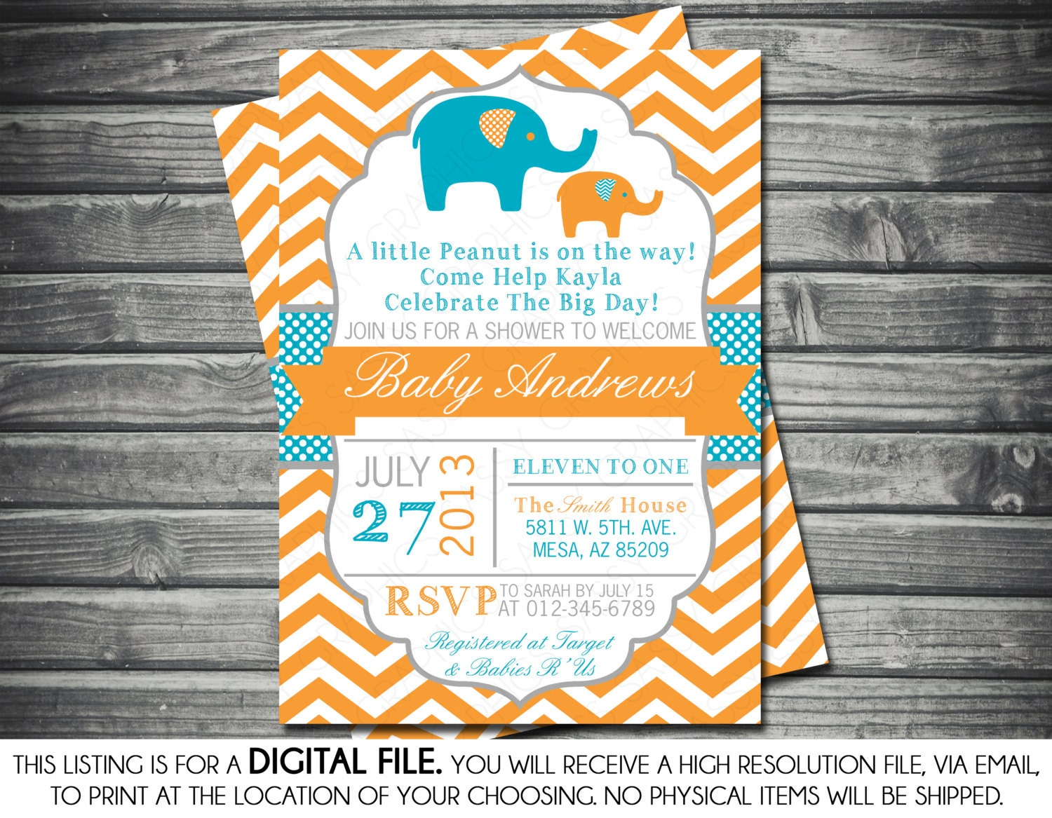 Boys Baby Shower Invitation Elephant Theme Orange Blue
