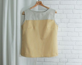 Sleeveless Shirt Upcycled Striped Top Linen Gold Buttoned Back Blouse Sustainable Fashion Eco Friendly