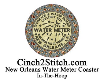 "New Orleans Water Meter Coasters - recycled CDs - 100% In The Hoop - Machine Embroidery Design Download (5"" x 7"" Hoop)"