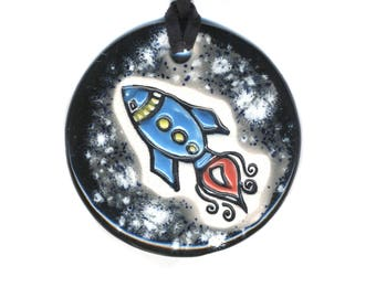 Rocket in Space Ceramic Necklace