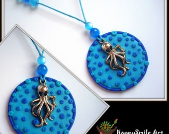 Blue Octopus Necklace One Of A Kind Polymer Clay Jewelry Summer Pendant Unique Gift For Women Kraken Necklace Jewelry Unique Gift For her