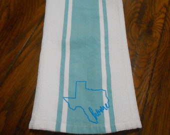 """Kitchen Towel with Embroidered Texas """"home"""" Outline - 17"""" x 26"""""""