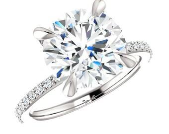 4.00 Carat (10mm) Forever One Moissanite & Diamond Engagement Ring Moissanite Diamonds,Claw Prongs Engagement Rings for Women, 4 Carat Rings