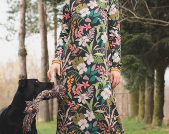Long Floral Dress With Sleeves | Light Comfortable Cotton Jersey | Multicolored Flowers Pattern | Graphite