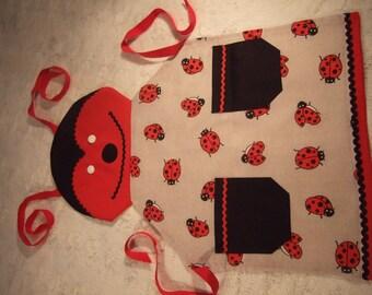 Ladybug 2 child apron pockets