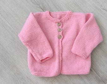 Cardigan hand knitted in pink jersey girl - 18 months - fall/winter 2018
