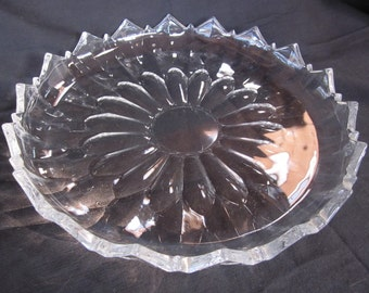 Vintage Heavy Thick Glass Serving Cake Plate With Turned Up Scalloped Edge Party Platter