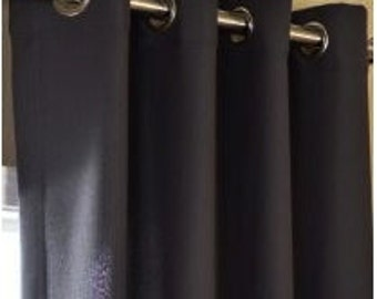 Custom Charcoal Linen/Cotton drapes