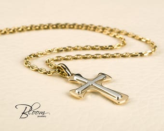 Solid gold cross necklace 14k gold cross pendant necklace for gold cross necklace 14k gold cross pendant solid gold cross baptism cross necklace pendant gold cross aloadofball Image collections