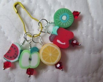 Stitch Markers Knitting Stitch Markers Beaded Stitch Markers Summer Fruit Beads