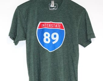 Interstate 89 T-shirt, Men's American Apparel Heather Forest Green Tee