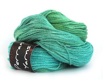 Light worsted DK yarn, hand dyed double knitting baby alpaca linen silk blend crochet yarn skein, Perran Yarns Woodland Glade blue green uk