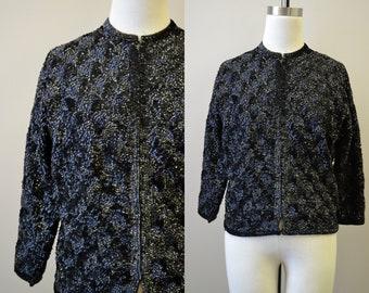 1950s Black Sequin Cardigan Sweater