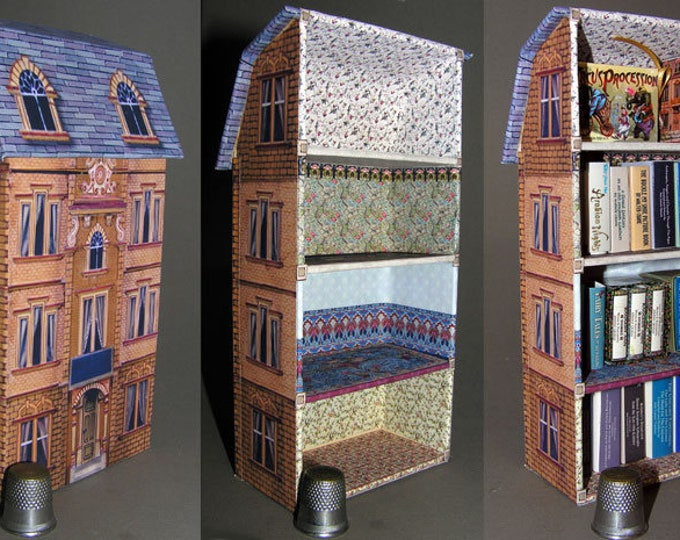 Bookcase, Paperminis, Bastelkit of paper in miniature for the Dollhouse, the doll house, Dollhouse Miniatures # 40056