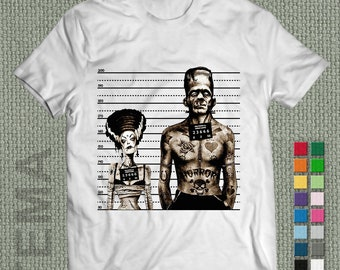 Frankenstein and Morticia- Tshirt - Men and Women Shirt