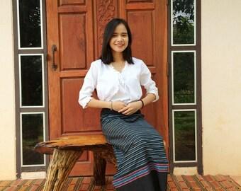 Woven Boho Festival Wrap Skirt Thai Sarong  Thai Tradition Cotton Skirt Long Skirt Jube Thai