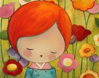 Acrylic painting on canvas: Michiko, the colors of life (kokeshi, floral background)