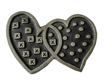 TWO HEARTS Beat As ONE vintage pin lapel  badge Cupid