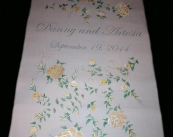Wedding Aisle Runner Hand Painted Custom Designed, DEPOSIT for any length or design