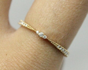 Diamond Wedding Band 18k Yellow Gold | Milgrain Stacking Ring 18k YellowGold | Diamond and Yellow Gold Ring Band
