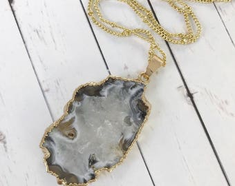 White, Gray and Tan Agate Slice Pendant Necklace // Druzy and Gold Geode Boho  // Gifts for Her