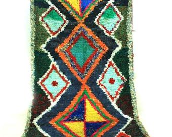 Vintage Moroccan Boucherouite berber Rug,  (8,53x3,70 ft) (260x113 cm) [Shipping Inclueded]