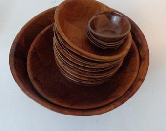 Vintage Wood Bowls, Large, Medium,Small and Extra Small! Set of Wooden Bowls,Vintage, Wooden Vintage Bowls, Salad Bowls, Rustic Bowls Wooden