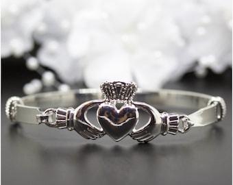 Friendship, Love Claddagh Heart Silver Bangle Bracelet, Silver-Tone Bangle Bracelet, Thank You Gift, Birthday Gift | #S001