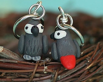 Polymer Clay African Grey Parrot Stitch Markers Flock of 4 Miniature Bird Sculpted Knit Crochet Accessories Avian Animal