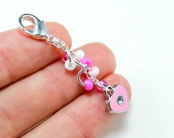Sale Jewelry - Pink Heart Charm. Cute Girls Party Favor Charm. Heart Keychain Charm.BRC008