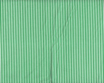 BTY GREEN & WHITE Stripe Print 100% Cotton Quilt Craft Fabric by the Yard