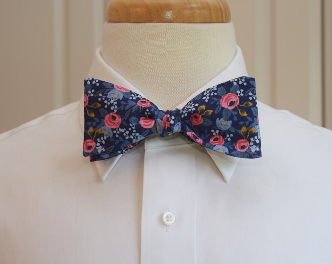 Men's Bow Tie, Rifle Paper Co. Les Fleurs Navy floral bow tie, wedding/groom/groomsmen bow tie, pink/blue roses bow tie, tuxedo accessory