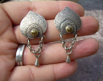 Unique Bohemian Style unmarked silver earrings, Very Unique and Beautiful Design, Ornate Earrings.