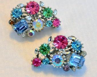 Vintage Lisner Rainbow Multicolor Fruit Salad AB Aurora Borealis Crystal Earrings - Exquisite