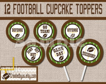 Football Cupcake Toppers Football theme Party Decorations Football team favors cupcake picks cake topper cupcake top Foot ball 12 assembled