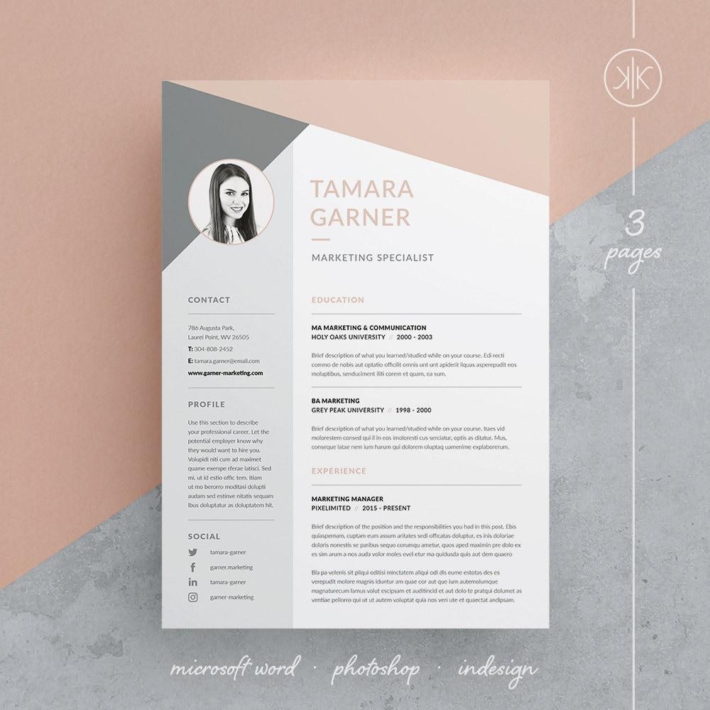 Tamara Resume Cv Template Word Photoshop Indesign