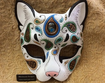 READY TO SHIP Paisley Cat Mask... original handmade leather masquerade costume boho kitty mardi gras halloween burning man
