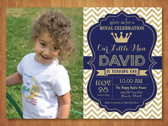 Prince birthday invitation with photo royal blue and gold like this item filmwisefo