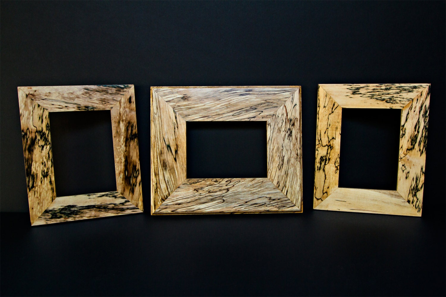 Vintage Hancrafted Reclaimed Spalted Maple Picture Frames