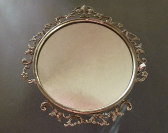 Beautiful Antique Floral Design Silver Plated Round Vanity Table Top Mirror